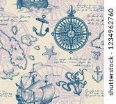 old caravel  vintage sailboat ... | Shutterstock .eps vector #1234962760