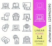 e learning line icons. set of... | Shutterstock .eps vector #1234963390