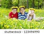 three children with dandelion... | Shutterstock . vector #123496990