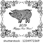 2019 happy new year greeting... | Shutterstock .eps vector #1234972369