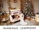 elegant long legged girl in a... | Shutterstock . vector #1234992439