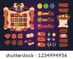 cartoon game ui. wooden buttons ...
