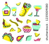 mexican food set. hand drawn... | Shutterstock .eps vector #1235009080
