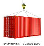 service delivery   red cargo... | Shutterstock . vector #1235011693
