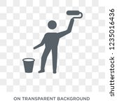 painter with paint bucket icon. ... | Shutterstock .eps vector #1235016436