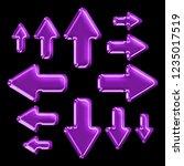 bright glowing purple glass set ...   Shutterstock . vector #1235017519