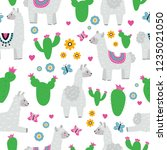 seamless pattern with llama... | Shutterstock .eps vector #1235021050