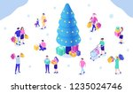 people shopping at christmas... | Shutterstock .eps vector #1235024746