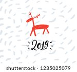 simple christmas greeting card... | Shutterstock .eps vector #1235025079