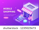 online shopping concept. can... | Shutterstock .eps vector #1235025673