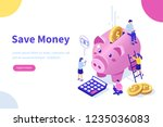 money saving concept with... | Shutterstock .eps vector #1235036083