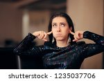 unhappy girl hating the loud... | Shutterstock . vector #1235037706