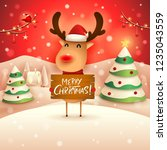 merry christmas  the red nosed... | Shutterstock .eps vector #1235043559