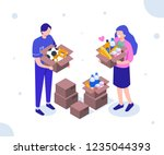 volunteers with donation boxes. ... | Shutterstock .eps vector #1235044393