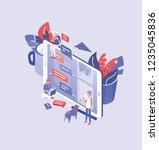 giant smartphone  tiny men and...   Shutterstock .eps vector #1235045836