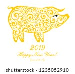 2019 happy new year greeting... | Shutterstock .eps vector #1235052910