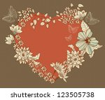 Floral Heart, Valentine background, vector - stock vector