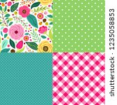 cute retro set of seamless... | Shutterstock .eps vector #1235058853