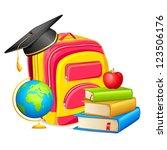 vector illustration of book bag ... | Shutterstock .eps vector #123506176