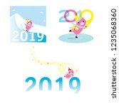 2019 greeting card design set... | Shutterstock .eps vector #1235068360