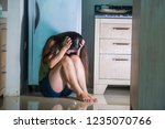 young desperate and depressed... | Shutterstock . vector #1235070766