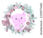 christmas wreath. cute piggy...   Shutterstock .eps vector #1235077660