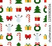 christmas pixel seamless... | Shutterstock .eps vector #1235083036