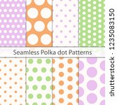 polka dot seamless pattern set. ... | Shutterstock .eps vector #1235083150