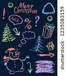 crayon christmas clip art... | Shutterstock .eps vector #1235083159