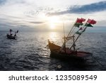 fishing boat decorated with the ...   Shutterstock . vector #1235089549