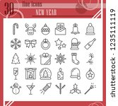 new year line icon set ... | Shutterstock .eps vector #1235111119