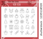 new year thin line icon set ... | Shutterstock .eps vector #1235118520