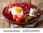 Stock photo the traditional meal of northern germany labskaus of potato corned beef and beet served with fried 1235124493