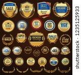 retro golden badge vector... | Shutterstock .eps vector #1235125933