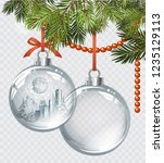 vector christmas fir tree with... | Shutterstock .eps vector #1235129113