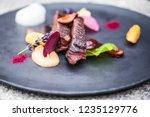 food plate restaurant elegant... | Shutterstock . vector #1235129776