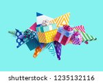 christmas colorful gifts | Shutterstock .eps vector #1235132116