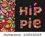 hippie flowers colorful print... | Shutterstock . vector #1235132329