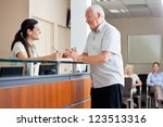 senior man communicating with... | Shutterstock . vector #123513316