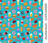 fast food on blue background.... | Shutterstock .eps vector #1235134000