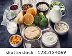 foods rich in calcium. healthy... | Shutterstock . vector #1235134069