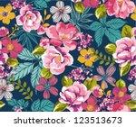 seamless summer tropical floral ... | Shutterstock .eps vector #123513673
