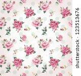 seamless vintage flower pattern ... | Shutterstock .eps vector #123513676