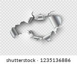 ragged hole torn in ripped... | Shutterstock .eps vector #1235136886