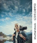 Mature Hiker Trekking Mountains Exploring - Fine Art prints