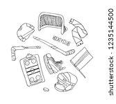 hockey set vector illustration | Shutterstock .eps vector #1235144500