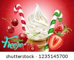 christmas ice cream cone with... | Shutterstock .eps vector #1235145700