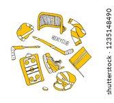 hockey set illustration | Shutterstock . vector #1235148490