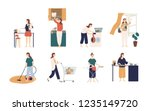 collection of scenes with woman ... | Shutterstock .eps vector #1235149720