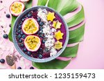 tasty appetizing smoothie acai...   Shutterstock . vector #1235159473